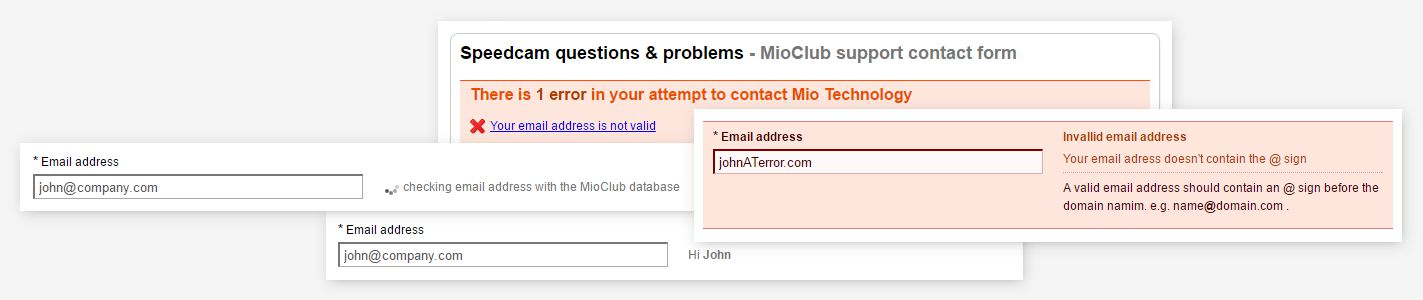 Mio Technology - Contact us form validation and help