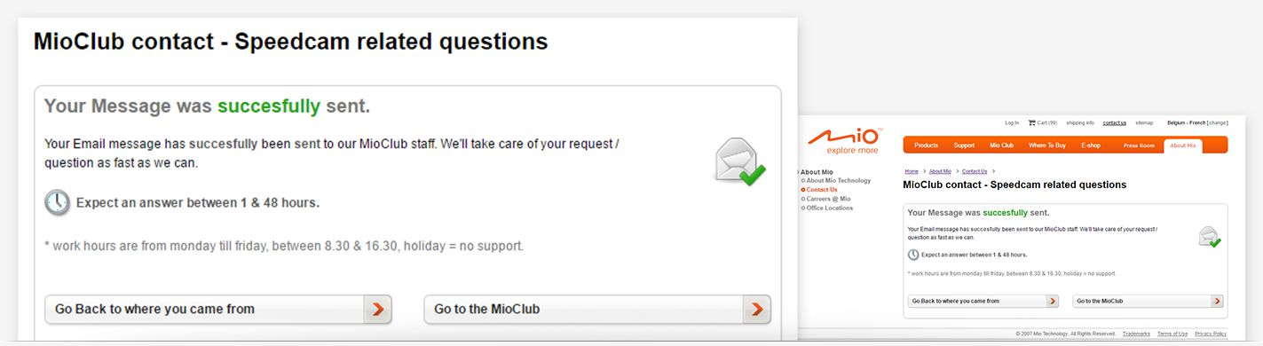 Mio Technology - Contact us form confirmation page
